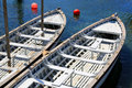 White boats over blue sea water Royalty Free Stock Photo