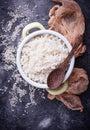 White boiled rice on pot Royalty Free Stock Photo