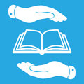 White book icon in flat hands isolated on blue background Royalty Free Stock Photo