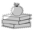 White books with apple on top image Royalty Free Stock Photo