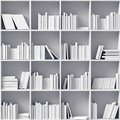 White bookshelves Stock Images