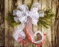 White bow Christmas wreath Royalty Free Stock Photo