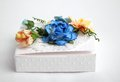 White box with flowers Royalty Free Stock Images