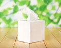 White box with napkins against green foliage Stock Photo