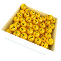 White box with yellow spheres with question marks Royalty Free Stock Images
