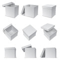 White boxes set of opened and closed paper Royalty Free Stock Images