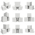 White boxes set  on white background. Royalty Free Stock Photo
