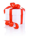White boxs tied with a red satin ribbon bow Royalty Free Stock Photo