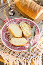 White bread with butter for breakfast Royalty Free Stock Photo