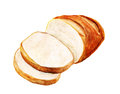 White bread watercolor image of isolated on background Royalty Free Stock Images