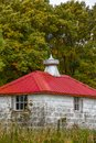 White barn with Red Roof Royalty Free Stock Photo