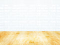 White brick tile wall and wood parquet floor Royalty Free Stock Photo