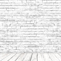 White brick wall room with wooden floor as background Royalty Free Stock Photo