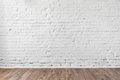 White brick wall texture background wooden floor Royalty Free Stock Photo