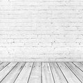 White brick wall and wooden floor abstract interior background Stock Photos
