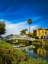White Bridge and Beautiful Homes Along The Venice Canals Royalty Free Stock Photo