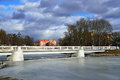 White bridge on the Verhnee lake (formerly Oberteich). Kaliningrad, Russia Royalty Free Stock Images