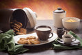 White and brown breakfast dishware Stock Image