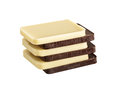 White and Brown, Dark chocolate bar in a row layers Royalty Free Stock Photo