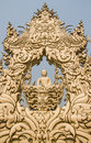White buddha image in the temple of chiang rai thailand Royalty Free Stock Image