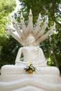 White buddha and seven heads of naka , Thailand Stock Photo