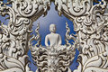 White buddha statue at white temple Stock Image