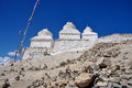 White buddhist stupa temple at ladakh india Stock Photography