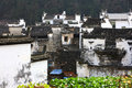 White buildings in village china the historic building at chinese xicun wuyuan Stock Photography