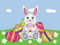 White bunny with Easter eggs Royalty Free Stock Photography