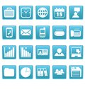 White business icons on blue squares this is file of eps format Stock Photo