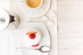 White cake with raspberry and coffee Royalty Free Stock Photo