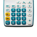 White calculator green button Stock Photos