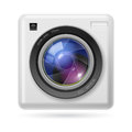 White camera icon lens illustration white background Stock Photos