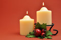 White Candles Christmas Decoration Stock Image