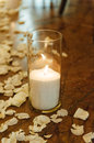 White candles in vase on the floor for ceremony Royalty Free Stock Photo