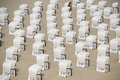 White canopied beach chairs at baltic sea lots of Stock Photography