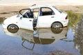 White car abandoned . Royalty Free Stock Photo