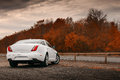 White car stay on wet asphalt road Royalty Free Stock Photo
