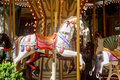 White Carousel Horse in Park Stock Image