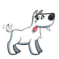 White cartoon terrier russell dog drooling cute sticking out its tongue Royalty Free Stock Image