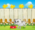 A white cat with a dog food and four yellow birds illustration of Royalty Free Stock Images
