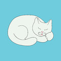 White cat sleeps on a blue background Stock Images