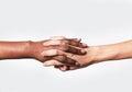 Blanco mujer mano y negro mano