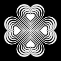 White Celtic heart knot - stylized symbol. Made of hearts. Four-leaf clover. Royalty Free Stock Photo