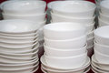 White ceramic bowls stacked Royalty Free Stock Photo