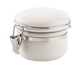 White ceramic canister with metal clamp the image is a cut out isolated on a background a clipping path Royalty Free Stock Photo