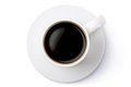 White ceramic coffee mug on the saucer top view standing a Royalty Free Stock Photos