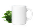 White ceramic mug with herbs herbs drink isolated on a with clipping work path Stock Photo