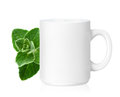 White ceramic mug with herbs herbs drink isolated on a with clipping work path Stock Photos