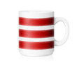 White ceramic mug with red lines isolated on a with clipping work path Royalty Free Stock Photo
